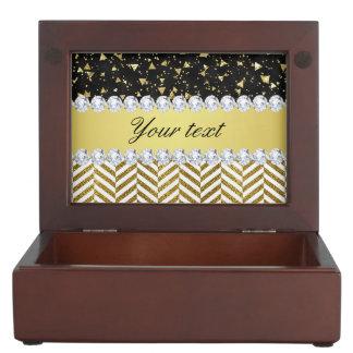 Gold Confetti Triangles Chevrons Diamond Bling Keepsake Box
