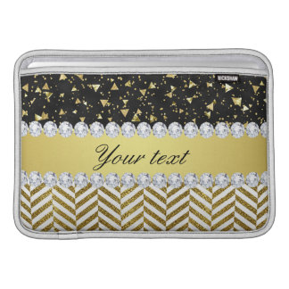 Gold Confetti Triangles Chevrons Diamond Bling MacBook Sleeve