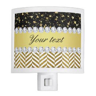 Gold Confetti Triangles Chevrons Diamond Bling Night Lites