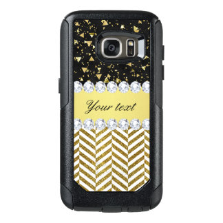 Gold Confetti Triangles Chevrons Diamond Bling OtterBox Samsung Galaxy S7 Case