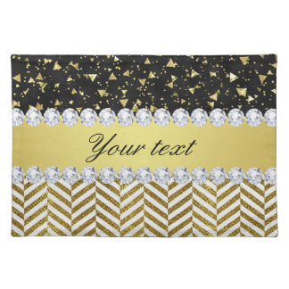 Gold Confetti Triangles Chevrons Diamond Bling Placemat