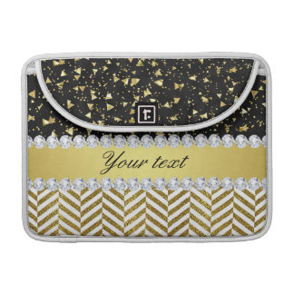 Gold Confetti Triangles Chevrons Diamond Bling Sleeve For MacBooks