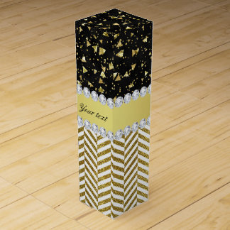 Gold Confetti Triangles Chevrons Diamond Bling Wine Gift Box