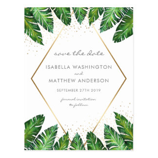 Gold Confetti & Tropical Palm Leaves Save The Date Postcard
