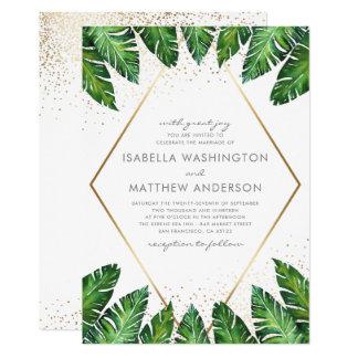 Gold Confetti & Tropical Palm Leaves Wedding Card