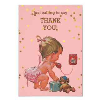 Gold Confetti Vintage Baby on Phone Thank You Card