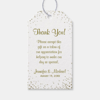 Gold Confetti Wedding Favor Tag