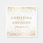 Gold Confetti Wedding Personalized Napkin