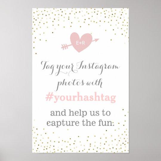 Gold Confetti Wedding Photos Hashtag Sign