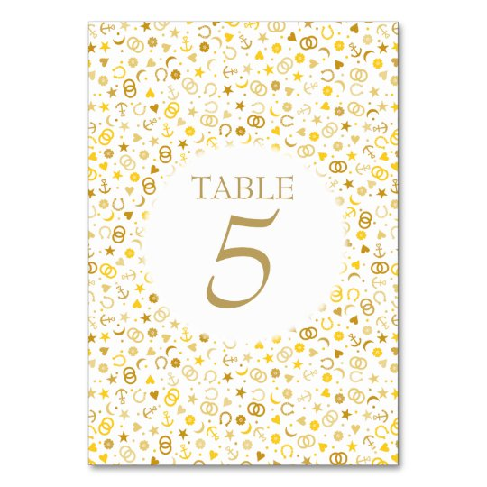 Gold Confetti Wedding Table Number