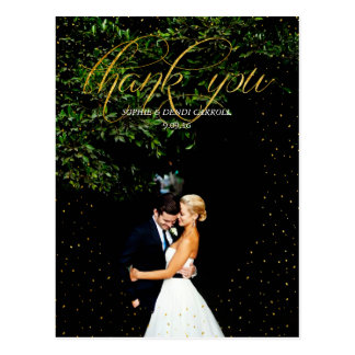Gold Confetti Wedding Thank You Postcard