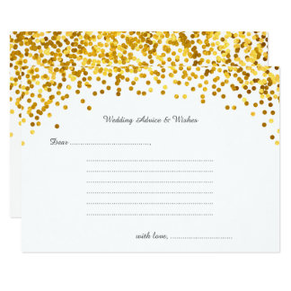 Gold Confetti Wedding Wishes & Advice Cards
