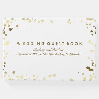 Gold Confetti White Elegant Wedding Guest Book