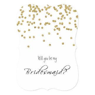 """Gold Confetti - Will you be my bridesmaid? 5"""" X 7"""" Invitation Card"""