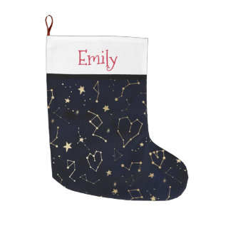 Gold constellation heart star navy blue watercolor large christmas stocking