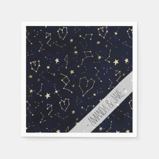 Gold constellation heart star navy blue watercolor paper napkin