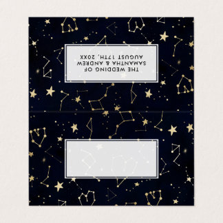 Gold constellation heart star navy blue watercolor place card