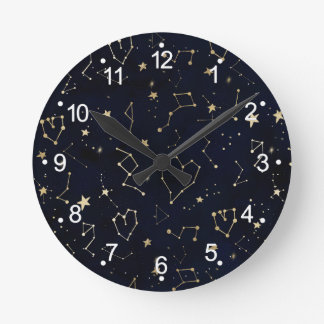 Gold constellation heart star navy blue watercolor round clock