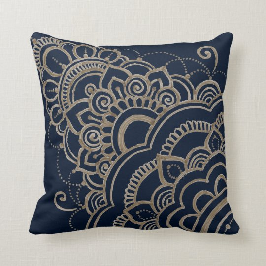 gold contemporary mandala flower pillow