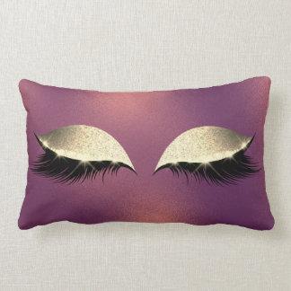 Gold Copper Frozen  Beauty Lashes Glitter Makeup Lumbar Pillow