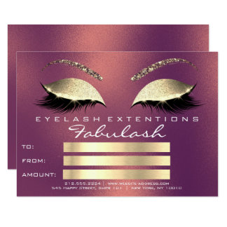 Gold Copper Lashes Extenst Makeup Certificate Gift Card