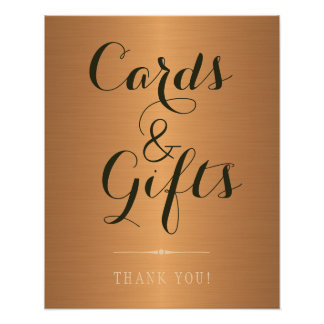 Gold copper metallic shinny cards and wedding sign