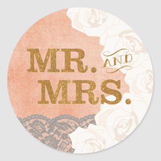 Gold Coral Lace and Roses Mr. and Mrs. Sticker