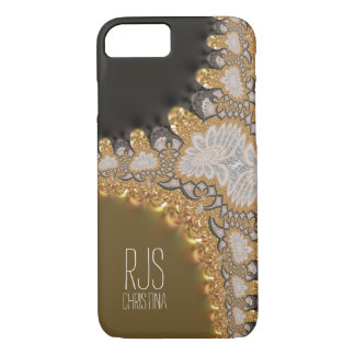 Gold Coral Lace Fractals Monogram iPhone 7 iPhone 7 Case