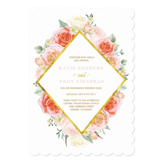 Gold, Coral, Peach and Pink Wedding Invitations
