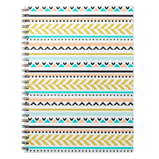 Gold, Coral, White, Aqua, Black Aztec Pattern Spiral Notebooks