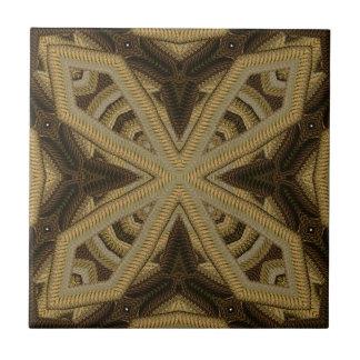 Gold Corded Knit Like Motif Tile