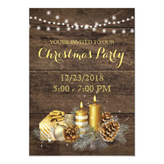 Gold Country Rustic Christmas Party Invitation