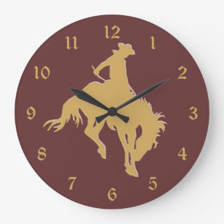 Gold Cowboy Bucking Horse Large Clock