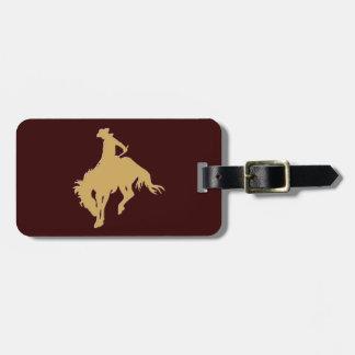 Gold Cowboy Bucking Horse Luggage Tag