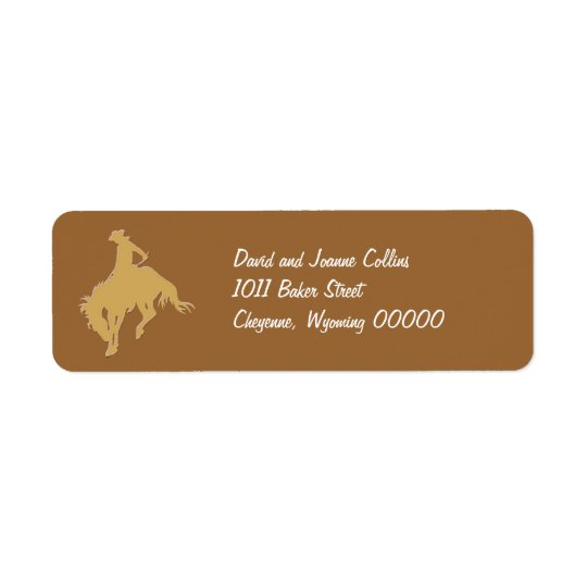 Gold Cowboy Bucking Horse Return Address Label