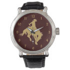Gold Cowboy Bucking Horse Watch