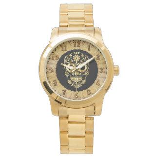Gold cranium sugar skull design watch