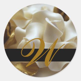 Gold Cream Rose Monogram Wedding Stickers