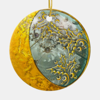 Gold Crescent Moon & Steampunk #2 Ceramic Ornament