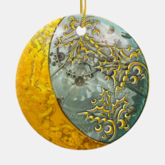 Gold Crescent Moon & Steampunk Double-sided Round Ceramic Ornament