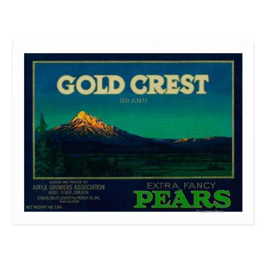 Gold Crest Pear Crate LabelHood River, OR Postcard