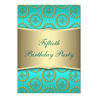 "Gold Crest Teal Womans 50th Birthday Party 5"" X 7"" Invitation Card"