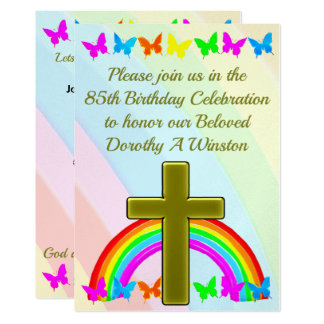 GOLD CROSS AND BUTTERFLY 85TH BIRTHDAY INVITATION