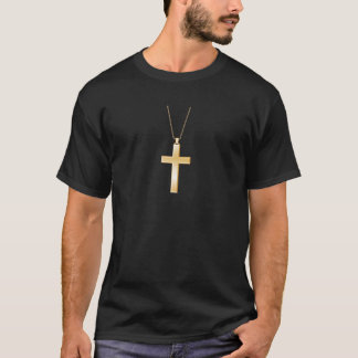 Gold cross and chain, looks like real jewelry. T-Shirt