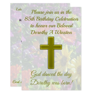 GOLD CROSS AND FLORAL 85TH BIRTHDAY INVITATION