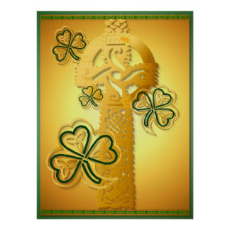 Gold Cross and Shamrocks Poster