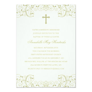 Gold Cross Baptism/Christening Invitation