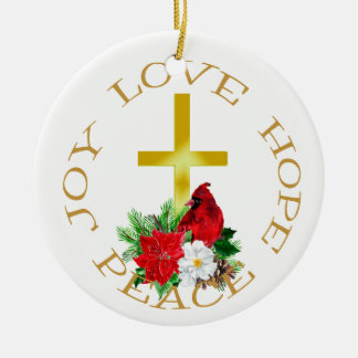 Gold Cross Cardinal Bouquet Ceramic Ornament