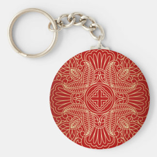 gold cross,floral pattern,red,beautiful,antique basic round button keychain