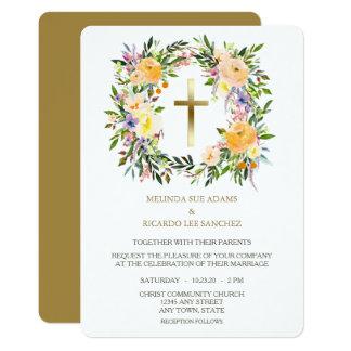 Gold Cross Floral Wreath Wedding Invitation